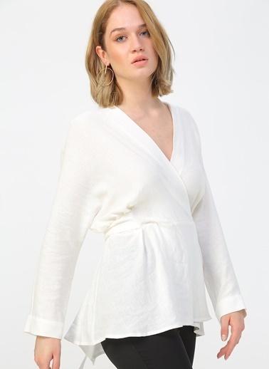 Fabrika V Yaka bluz Beyaz